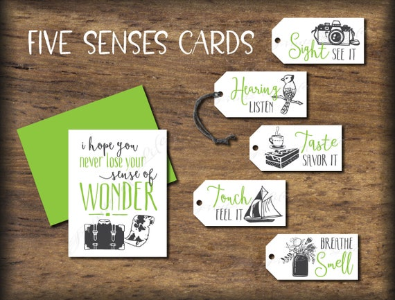 Five Senses Gift Tags Amp Card Instant Download Printable 5