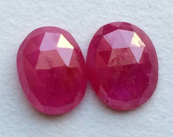 Ruby Faceted Oval Flat Back Cabochon, 7.5x10mm Matched Pair Glass Filled Ruby Cabochon, Loose Ruby Gemstones, Ruby Earrings - PUSPH6