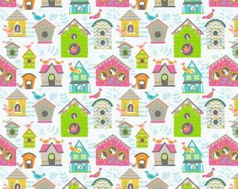 Bird House Fabric, Cotton Fabric By The Yard, Bird House, Craft Projects, DIY Sewing Projects, White Fabric, Blend Fabrics, Summer Quilts