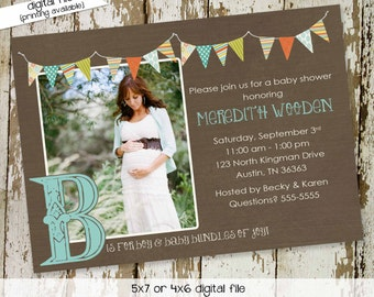 Gender reveal invitation couples baby shower coed pregnancy announcement neutral ultrasound photo picture twins rustic   1261 Katiedid Card