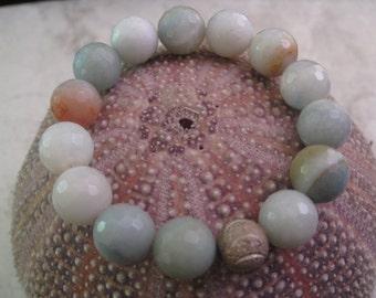 Faceted Pastel Rainbow Agate Bracelet