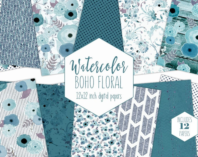 TEAL & NAVY BLUE Flower Digital Paper Pack Metallic Floral Backgrounds Commercial Use Boho Chic Wedding Scrapbook Paper Bohemian Patterns