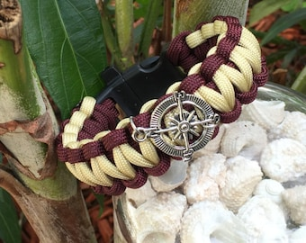 Nautical Beachy Paracord Bracelet , colored with burgundy and creme paracord, with  an antique silver compass charm