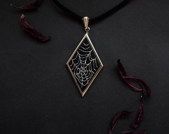 Spiderweb pendant silver embroidery