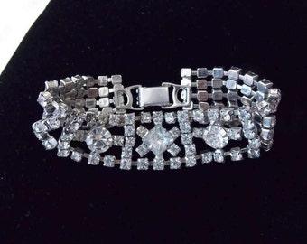 Rhinestone Bracelet Vintage 50's jewelry Prom Wedding special occasion