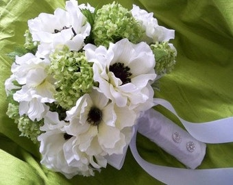 Silk Bouquet of Cream/white Anemones and Lime Green Snowball Bridal Wedding Bouquet
