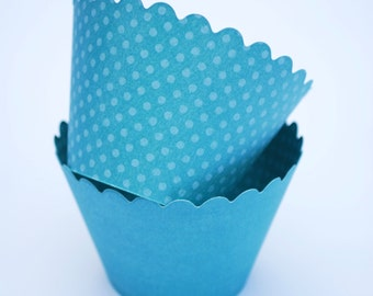 Cupcake Wrappers | Baking Cups | Aqua Cupcake Wrappers | Reversible Cupcake Wrappers
