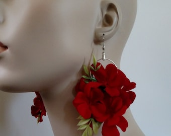 Red Flower earrings, Flower Earrings, Long Earrings, Gifts for her, Bridal Jewelry, Boho Jewelry, Statement Earrings, Gifts Under 20