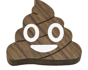 Wooden Poop Emoji - Desktop Paperweight