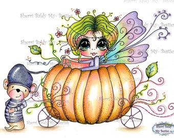 INSTANT DOWNLOAD Digi Stamps Big Eye Big Head Dolls Digi Bestie Pumpkin Ride By Sherri Baldy