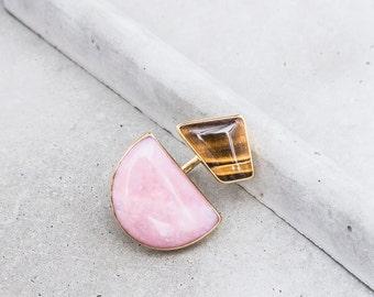 Pink Opal + Tiger Eye Double Stone Statement Ring / 14k gold vermeil / geometric art jewelry / OOAK / size 7-7.75
