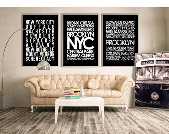 Restoration Hardware Style New York City Wall Art   NYC Subway Sign Art  Canvas Or Print, Custom Design Your Own