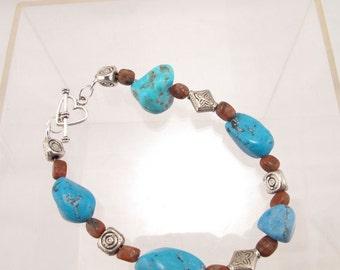Bracelet-turquoise nugget-jasper stone-silver beads-artisan-gemstone wrist bangle-single strand jewelry for the wrist-handmade-gift for her