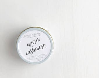 Warm Cashmere Solid Perfume Balm- fragrance - scent-moisturizer- coconut oil- cocoa oil- vitamin e-shea butter- beeswax-salve-Christmas gift