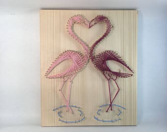Lovely pink flamingo couple wedding string art wall art gift for newlyweds house, Tropical handmade nursery present twins baby room decor