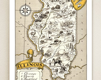 ILLINOIS MAP PRINT - shown in wheat color - personalize it - pictorial vintage map to frame - gift idea for many occasions - lovely wall art
