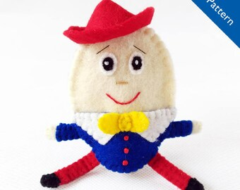 Pattern, Humpty Dumpty felt finger puppet pattern, Humpty Dumpty pattern, felt finger puppet pattern, finger puppet pattern, sewing pattern
