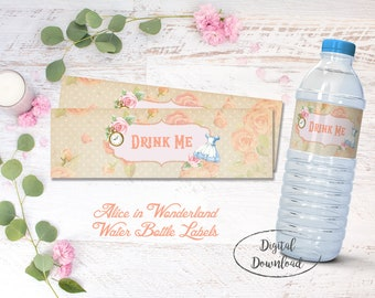 Alice in Wonderland Drink Me Bottle Labels, Onderland Bottle Labels. Mad Hatter Tea Party, Wonderland Decorations, Instant Download