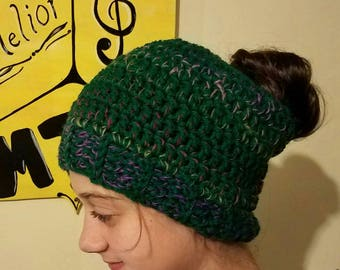 Ready to Ship-- Messy Bun Hat--Green and Multicolor