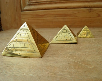 Three Vintage Brass Pyramids, Egyptian Souvenirs, Pyramids at Giza, Khufu's Pyramid, Cairo, Ancient Egypt, Esoteric, Witch, Wiccan, Boho,