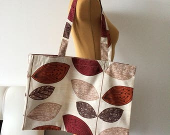 Upcycled Tote Bag Leaves Print Shopping Bag Grocery Zero Waste OOAK (06)