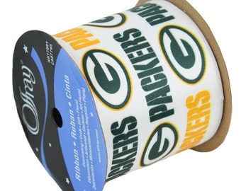 "2.5"" NFL Green Bay Packers Ribbon, 9 feet , Licensed NFL Offray Ribbon"