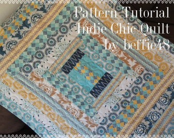Indie Chic Quilt Pattern Tutorial with photos, Easy to Make,  Instant Download