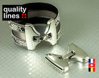 Silver hook clasp for leather flat hole 30mm / 2mm bracelet