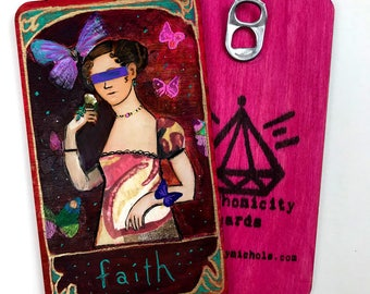 Faith - Hand Painted Wooden Oracle Card