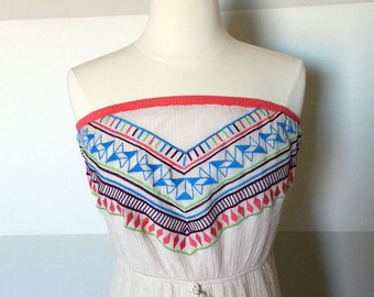 Aztec,  Vintage Tribal Print, Boho Strapless Maxi Dress in Crinkly Fabric with Neon Native American Colorful Embroidery