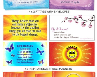 Pay It Forward Giving Pack - Fridge Magnets, Gift Tags, Motivational Quotes, Cards Love, Positive Thinking, Pay It Forward, Kindness Quotes
