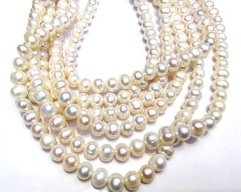3-12mm Natural Pearl,white round June birthstone brides bridal Freshwater Pearls jewelry beads for making bracelet necklace