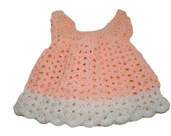 Crochet Baby Dress Pinafore Lacy Newborn Dress Infant Baby Girl Clothes Peach Formal Fashion Baby Dresses Girly Girl Dress