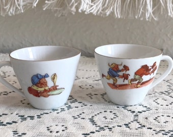 Seltmann Weiden Bavarian Children Tiny China Cups with Women, Men and Missing Chicken