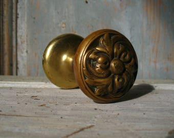 antique French cast bronze dubble door handle, door knob, late 19th century.