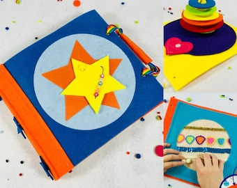 Baby Quiet Book for Boys - Soft Felt Activity Book Set Includes Cover + 2 Activity Pages - Montessori - Best Birthday Gift for Baby Boy