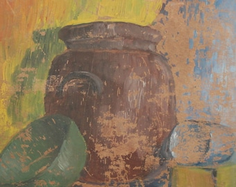 1985 Impressionist oil still life painting signed