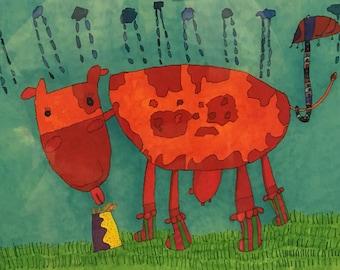 JennyLU Designs Giclee 11x14 Print - Rainy Day Cow