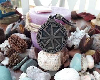Kolovrat Slavics leather necklace with pearl,sun wheel Svarog leather necklace,Pagan mythology leather jewelry,Slavic tradition culture