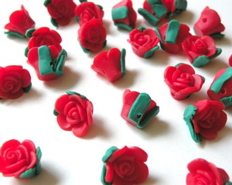 6 Red Rose flower polymer clay beads 13x13mm 4164PB