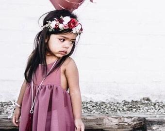 Tieback Flower Crown, Bridal Crown, Toddler Flower Crown,  Valentine's Crown, Festival Crown, Birthday Girl, Baby Flower Crown