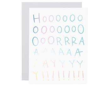 HOORAY holographic card. Hologram funny birthday card. Motivational card. Congratulations card. Rainbow card. Any occasion card.