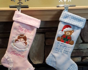 Baby My First Christmas Stocking; Baby Boy; Baby Girl; Blue Stocking; Pink Stocking; Personalized Stocking