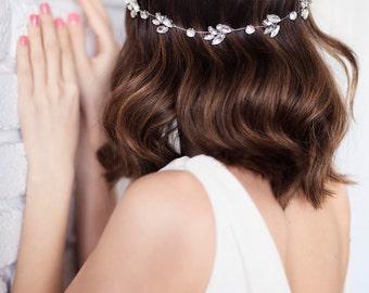 Bridal Headband, Wedding Rhinestone Hair Halo, Crystal Bridal Hair Vine, Wedding Hair Piece, Crystal Wedding Headband, Boho Hairpiece-DINA