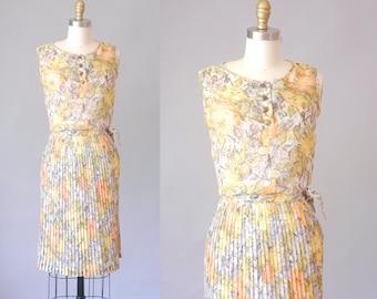 Briney cotton gauze skirt set | 1960 floral skirt and blouse set | vintage 60s skirt
