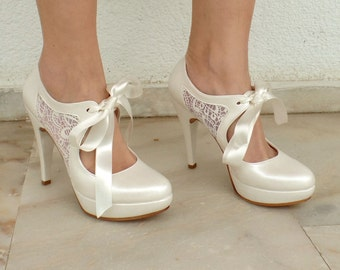 Lace Wedding Shoes, Ivory Bridal Shoes with Sheer Lace and Satin Ribbons