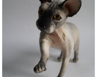 Sphynx/ Needle felted animal /Cat/Realistic cat /Custom pet portrait / Personalized Pets / Wool sculpture / Memorial