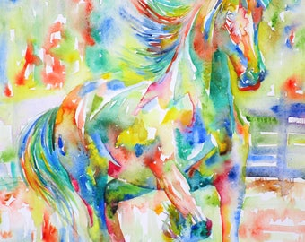 STALLION - original watercolor painting - one of a kind!