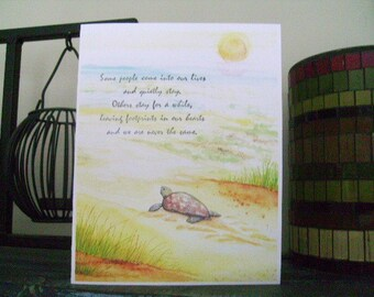Sea turtle Card Sea turtle on the Beach Inspirational Card Turtle Greeting Card Beach Note Card Sea Turtle Art Turtle Drawing Turtle Card