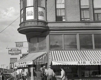 Skeets Cafe corner of Bannock and Montana Streets, Dillon Montana reproduction of vintage FSA photograph Russell Lee 1942